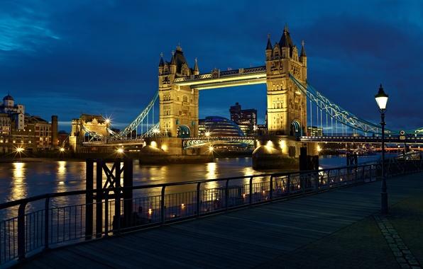Картинка свет, ночь, city, город, река, Англия, Лондон, фонарь, Великобритания, light, london, Тауэрский мост, river, night, …