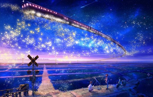 Картинка звезды, пейзаж, ночь, метро, фантастика, знак, поля, поезд, мальчик, арт, мотоцикл, девочка, железная дорога, наблюдение, …