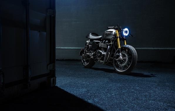 Картинка Bike, Custom, Triumph, Bonneville, Racer, Motorcycle, The Bullitt
