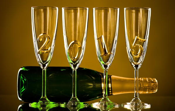 Картинка бутылка, Новый Год, бокалы, gold, шампанское, New Year, Happy, champagne, 2015