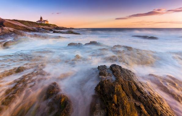 Картинка камни, океан, берег, маяк, утро