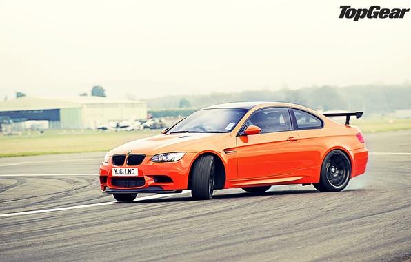 Картинка оранжевый, BMW, занос, БМВ, суперкар, дрифт, трек, top gear, передок, самая лучшая телепередача, высшая передача, …