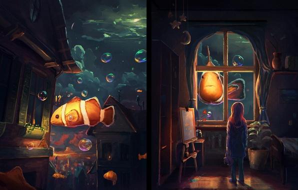 Картинка вода, рыбки, комната, окна, арт, девочка, живопись