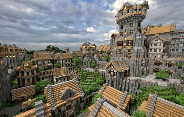 Картинка крыша, небо, облака, город, дом, дерево, улица, здание, блоки, окно, Minecraft