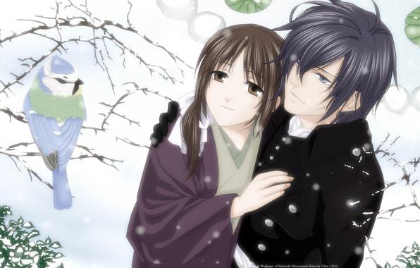 Картинка зима, девушка, снег, дерево, птица, пара, парень, Saito Hajime, chizuru yukimura, hakuouki shinsengumi kitan