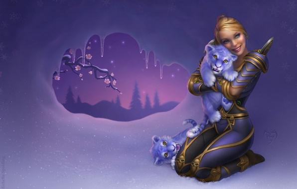 Картинка девушка, снег, цветы, тигр, дерево, ветка, сосульки, фэнтези, арт, клыки, тигрята, world of warcraft
