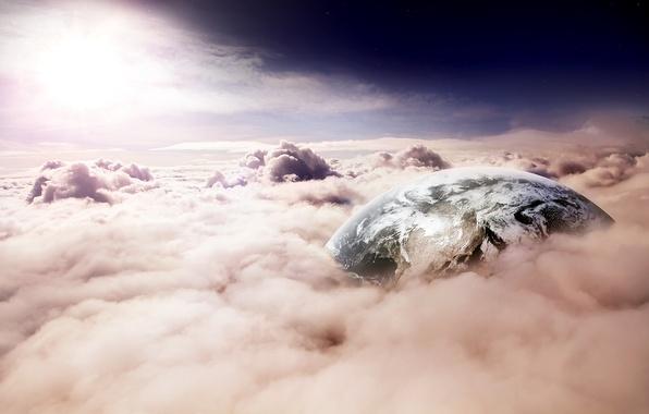 Картинка небо, облака, свет, земля, планета