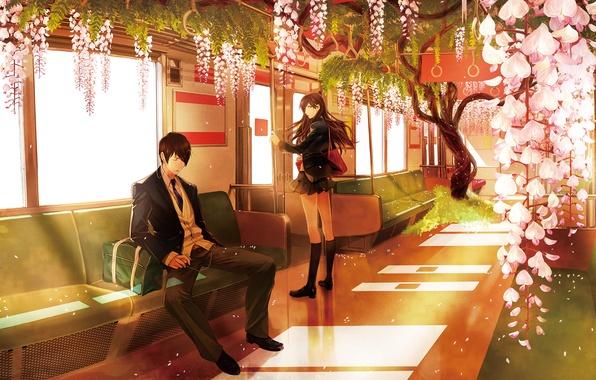 Картинка девушка, деревья, цветы, метро, лепестки, наушники, пара, Аниме, парень, сумка, школьная форма