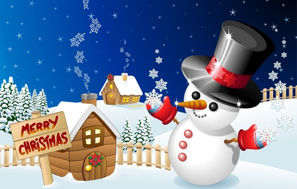 Картинка зима, праздник, графика, рождество, снеговик, christmas, merry