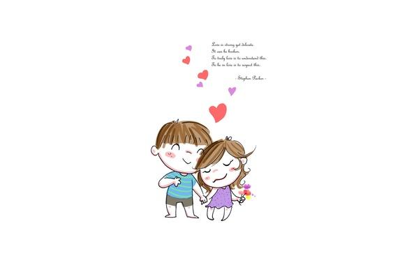Картинка любовь, надпись, мальчик, девочка, сердечки