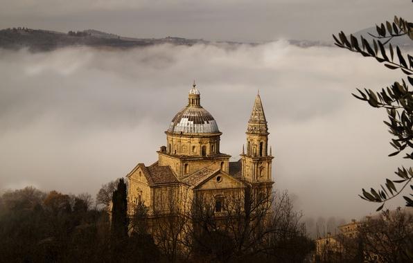 Картинка деревья, природа, туман, Италия, церковь, храм, Italy, Тоскана, Toscana, Chiesa di San Biagio, Montepulciano, Мадонна …