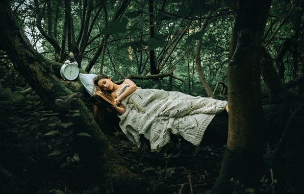 Картинка лес, девушка, часы, книга, Rosie Hardy, Another Story