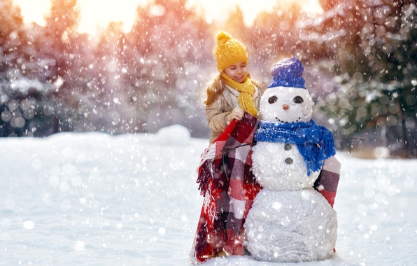 Картинка зима, шапка, ребенок, шарф, девочка, снеговик, girl, плед, Winter, snowman