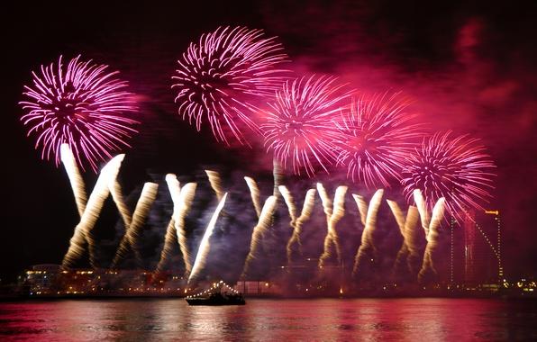 Картинка ночь, lights, огни, салют, colorful, water, night, fireworks, reflection