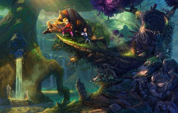 Картинка лес, деревья, дети, река, водопад, арт, гоблины