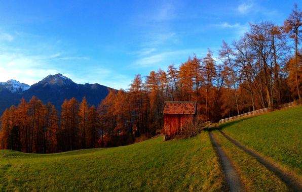 Картинка дорога, осень, лес, небо, трава, облака, деревья, горы, природа, colors, colorful, grass, forest, road, sky, …