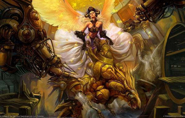 Картинка девушка, птица, крылья, chen wei, механика, богиня