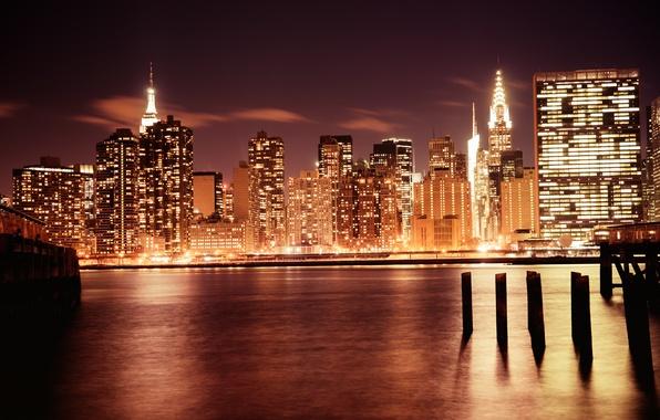 Картинка свет, город, огни, река, здания, дома, Нью-Йорк, небоскребы, вечер, USA, США, Манхэттен, New York, Manhattan, …