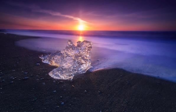 Картинка Landscape, Water, Sunset, Magic, Ice, Sea, Cold
