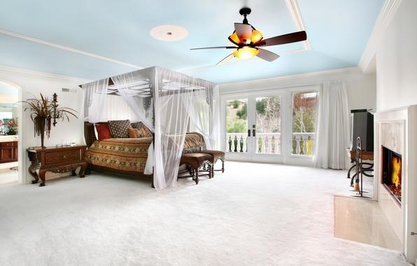 Картинка уют, тепло, комната, растение, кровать, телевизор, окно, люстра, тумбочка, камин, спальня, балдахин