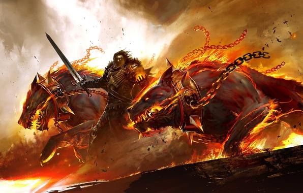 Картинка огонь, меч, доспехи, воин, ошейник, цепи, Guild Wars 2, псы, церберы