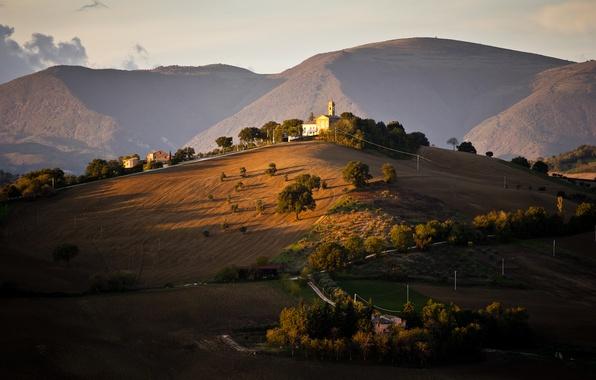 Картинка деревья, холмы, поля, дома, Италия
