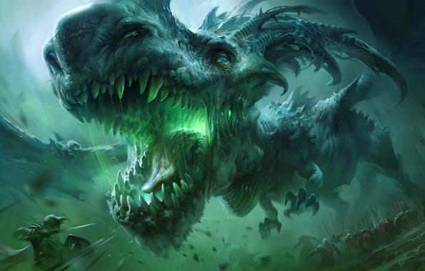 Картинка морда, фантастика, дракон, армия, бой, клыки, воины