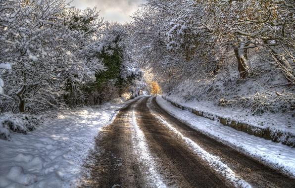 Картинка зима, дорога, лес, снег, деревья, пейзаж, горы, природа