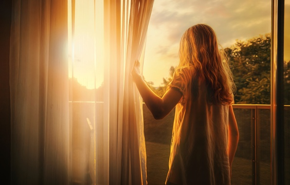 Картинка свет, обработка, окно, девочка, First light