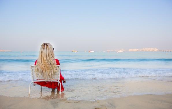 Картинка море, лето, девушка, отдых, релакс, волосы, платье, блондинка, ножки