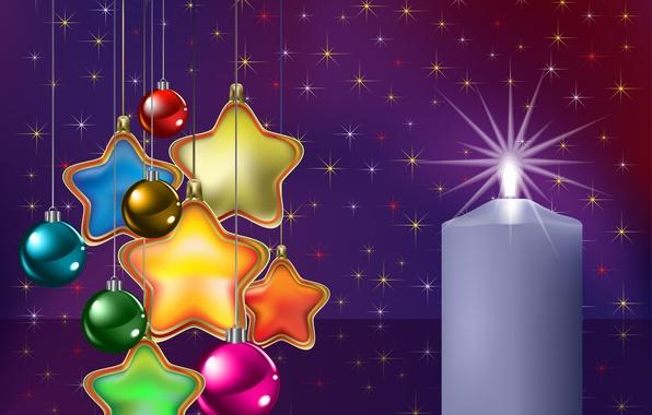 Картинка звезды, шарики, украшения, шары, игрушки, графика, свеча, звёзды, Рождество, Новый год