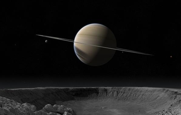 Картинка звезды, кольца, кратер, спутники, saturn