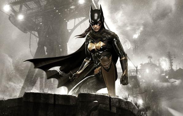 Картинка небо, взгляд, девушка, тучи, волосы, броня, экипировка, Batgirl, Warner Bros, Rocksteady Studios, Batman: Arkham Knight, …