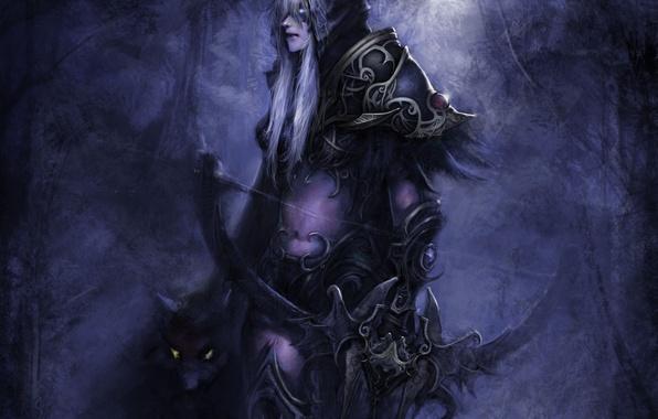 Картинка животное, доспехи, лук, капюшон, WoW, World of Warcraft, эльфийка