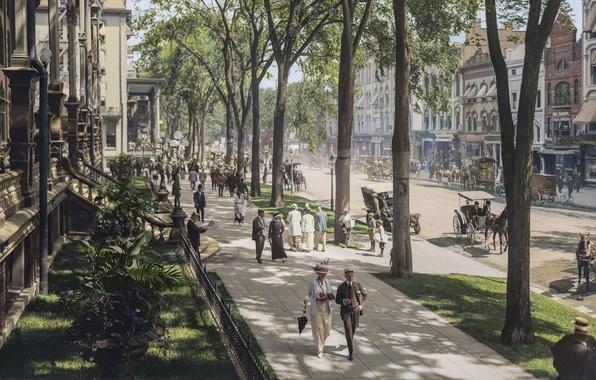 Картинка vintage, New York, Broadway, peoples, 1915, colorized, Saratoga Springs