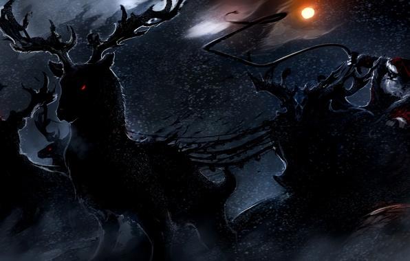 Картинка ночь, праздник, новый год, рождество, арт, christmas, олени, санта, Merry Christmas, xmas, santa claus