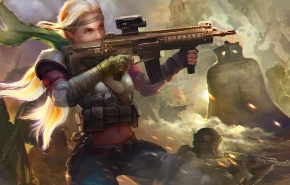 Картинка девушка, город, война, блондинка, автомат, руины, колокол, Homefront: The Revolution