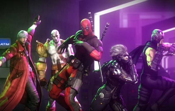 Картинка танец, демон, маска, злодей, ниндзя, Ninja Gaiden, god of war, kratos, crossover, наемник, deadpool, raiden, …