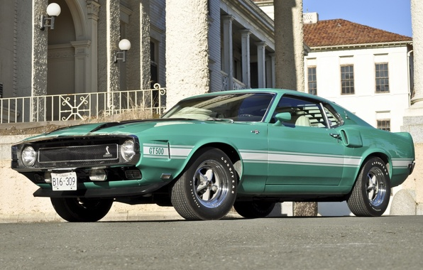 Картинка дом, Shelby, GT500, mustang, мустанг, ford, мускул кар, форд, классика, бирюзовый, шелби, 1970, передок, Muscle …