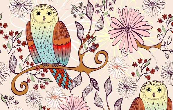 Картинка цветы, птицы, ветка, текстура, совы, листики