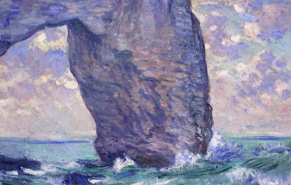 Фото обои Клод Моне, картина, море, скала, Маннпорт. Вид Снизу, арка
