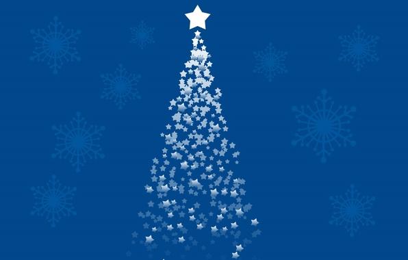 Картинка снег, снежинки, праздник, обои, звезда, елка, новый год, рождество, christmas, new year, tree, merry, 1920x1080, …