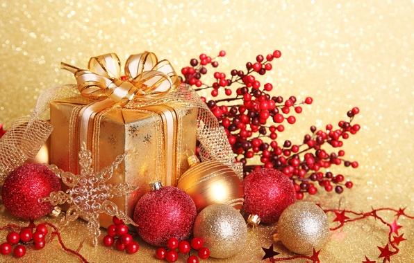 Картинка шарики, украшения, ленты, золото, коробка, подарок, шары, игрушки, блестки, Новый Год, Рождество, красные, бант, Christmas, …