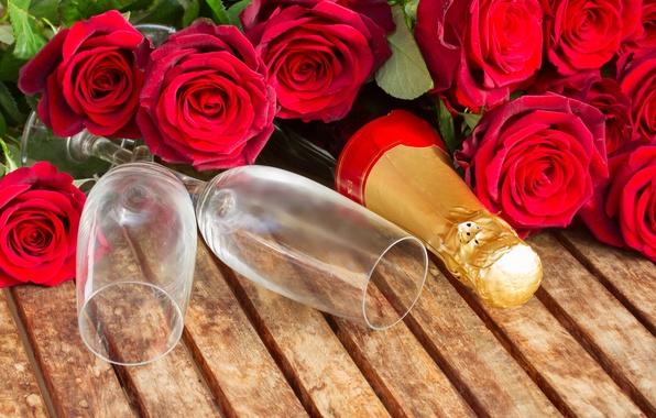 Картинка розы, бокалы, шампанское, romantic, Valentine`s day, день Святого Валентина