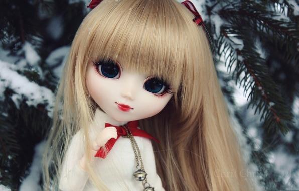 Картинка зима, игрушка, кукла, ёлка, чёлка. русая