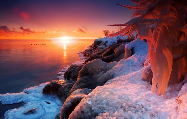 Картинка зима, солнце, свет, снег, природа, озеро, лёд, огонь и лёд