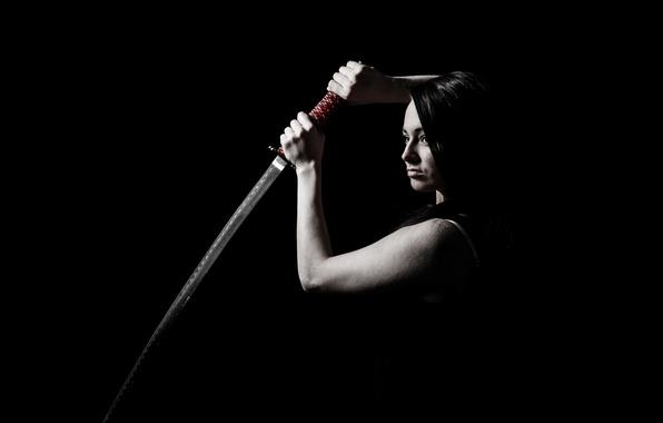 Картинка девушка, меч, катана