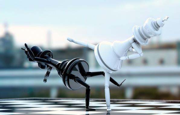 Картинка белый, абстракция, пространство, черный, шахматы, арт, доска, white, black, схватка, фигуры, chess, fight, король, king, …