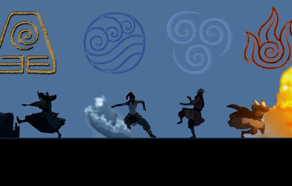 Картинка вода, огонь, земля, стихия, воздух, аватар, avatar, The legend of Korra, Корра, Korra, Аанг, Легенда …