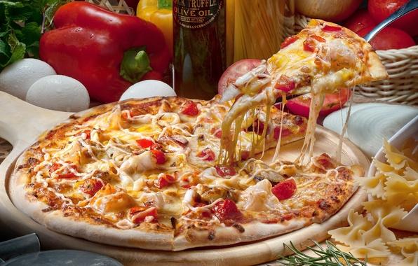 Картинка масло, яйца, сыр, перец, пицца, помидор, паста